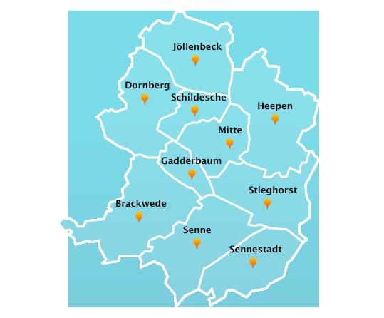 Stadtteile Winterdienst Schnee- Eisbeseitigung Bielefeld